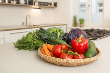 fresh vegetable on kitchen counter