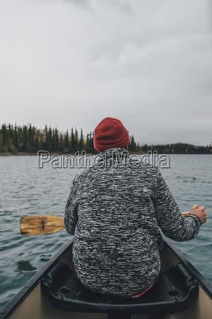 canada british columbia man in canoe