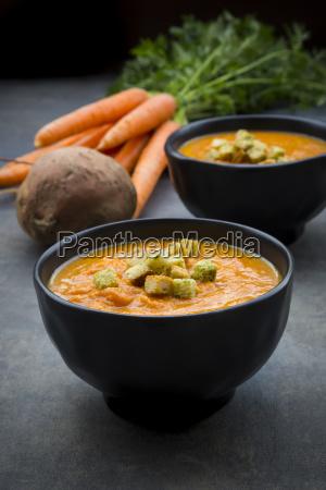 bowl of sweet potato carrot soup