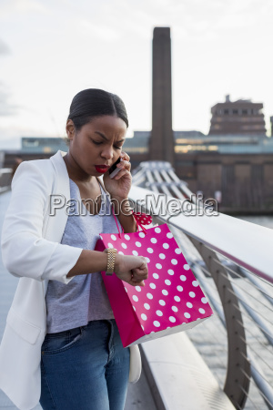 uk london woman on cell phone