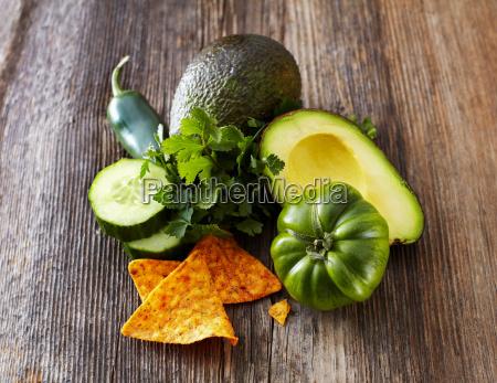 avocado tortilla chips green tomato jalapenos