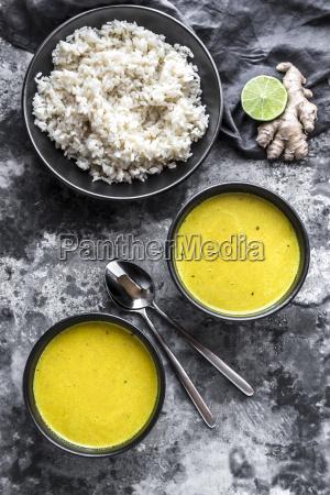 curcuma coco soup rice bowl ginger