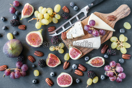 plate with cheese figs grapes blueberries