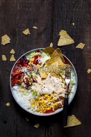 taco salad bowl with rice corn