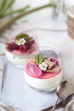 glasses of panna cotta with roasted