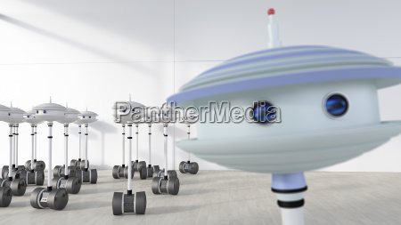 group of robots in a room