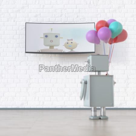 roboter mit luftballons mit blick auf