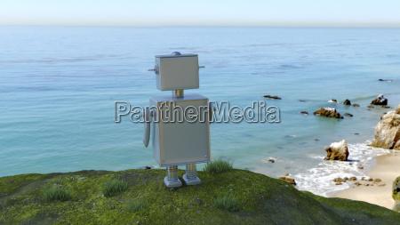robot at the coast looking at