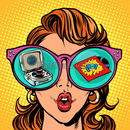 frau mit sonnenbrille pop vinyl schallplatte