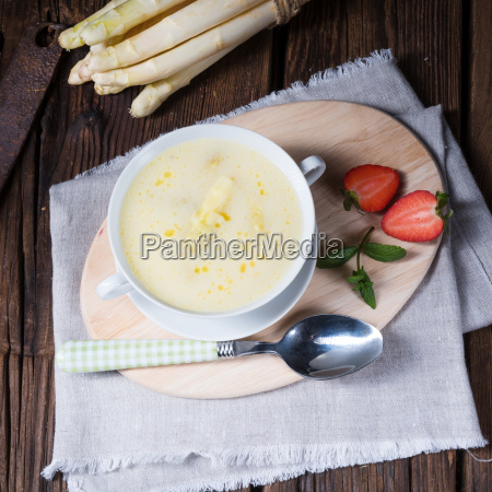 rustic white asparagus cream soup with