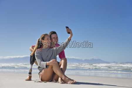 man with artificial leg posing for