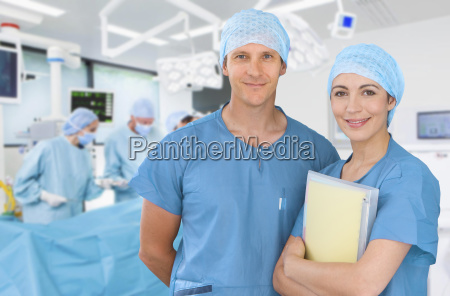 portrait of male and female medical