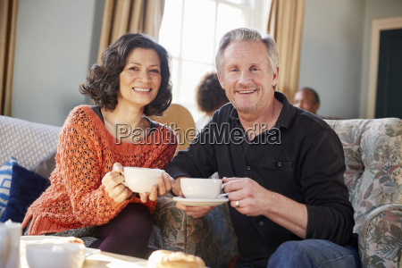 portrait of middle aged couple meeting