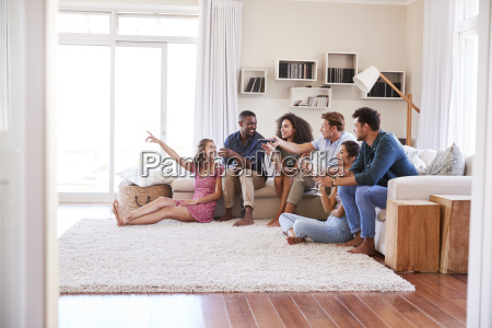 group of friends relaxing at home