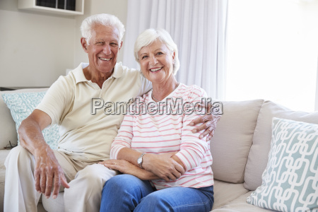 portrait of senior couple relaxing on