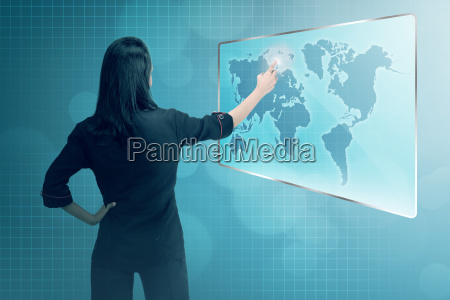 young asian business woman pointing digital
