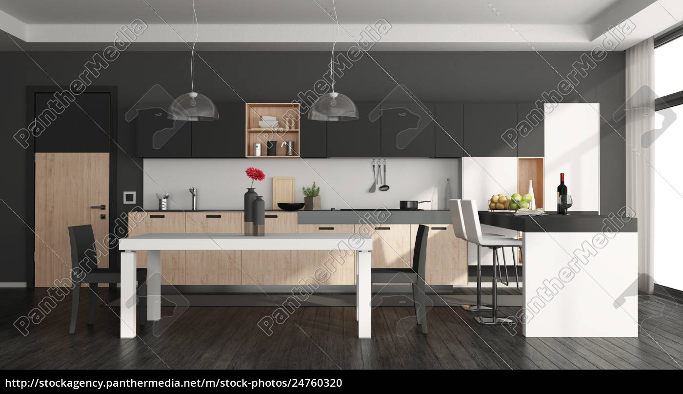Lizenzfreies Foto 24760320 - schwarz weiß moderne küche
