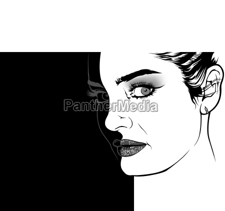 woman face illustration on divided background