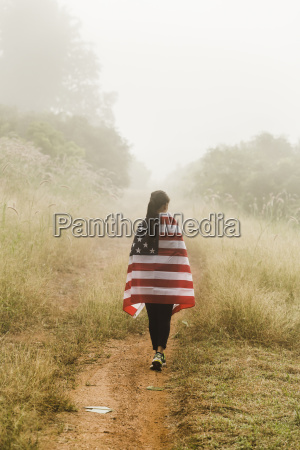 rear view of woman with american