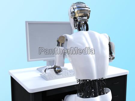 3d rendering von maennlichen robotern die