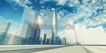city scene 3d rendering