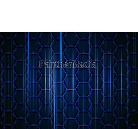 blue hexagonal background with light stripes