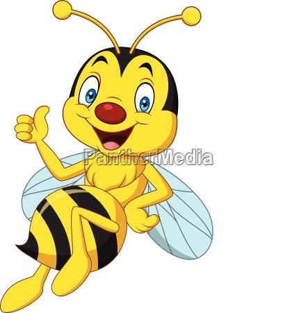 glueckliche biene der karikatur die daumen