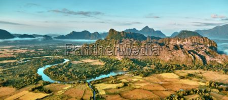 aerial view of a rice fields