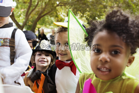 close up of happy children in