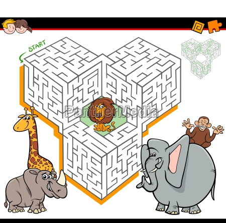 cartoon maze activity with safari animal