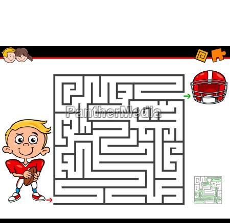karikaturlabyrinthtaetigkeit mit jungen und fussball