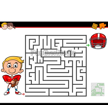 cartoon maze activity with boy and
