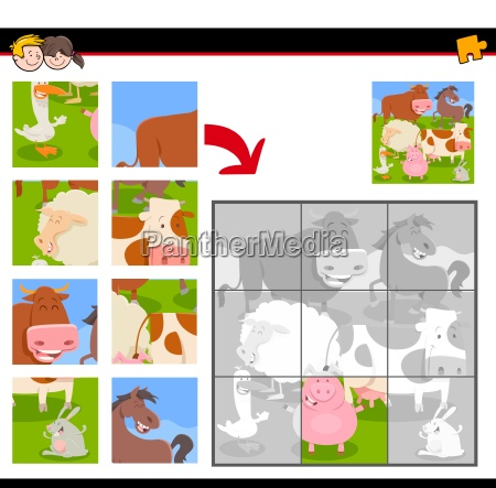 jigsaw puzzles with happy farm animals