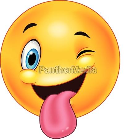 smiley emoticon mit herausgestreckter zunge und