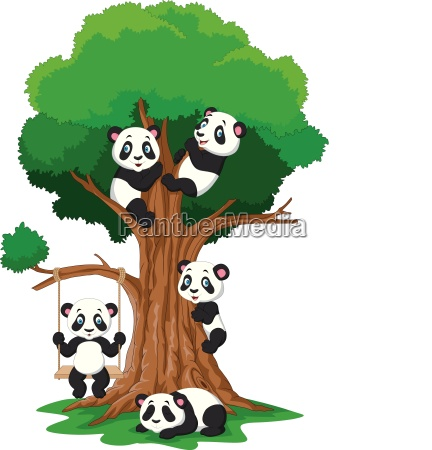 cartoon baby panda playing on a