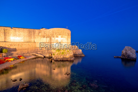 dubrovnik walls and waterfront evening view