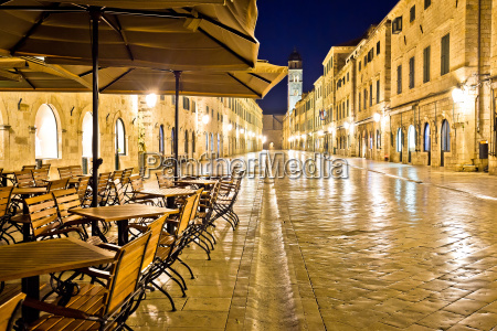 famous stradun street and cafe in