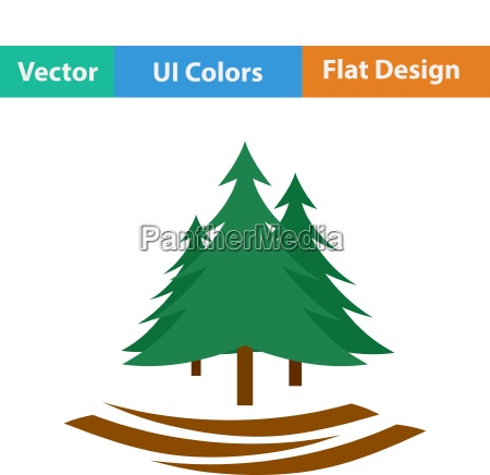 flat design icon of fir forest