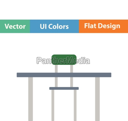 flat design icon of table and