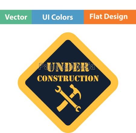flat design icon of under construction
