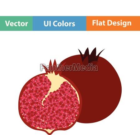 flat design icon of pomegranate