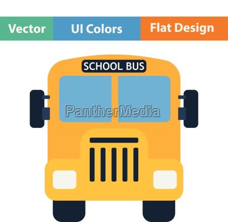 flat design icon of school bus