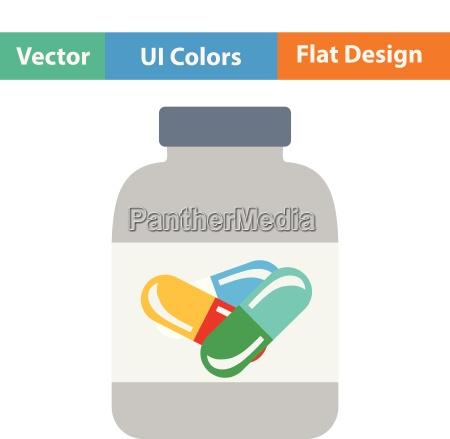 flat design icon of fitness pills