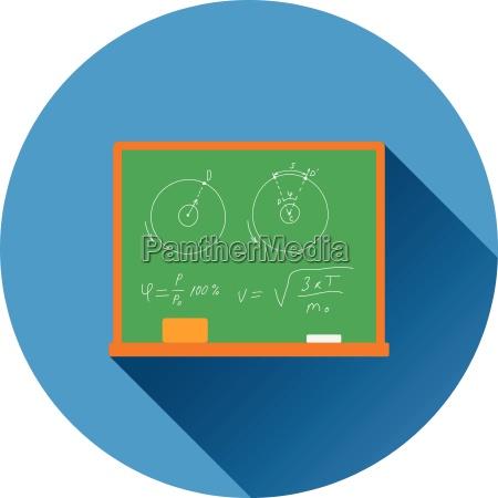 flat design icon of classroom blackboard