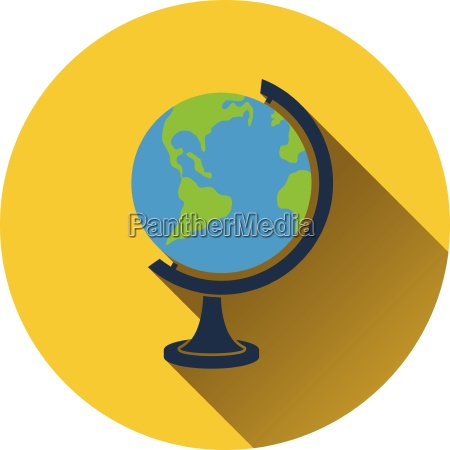flat design icon of globe in