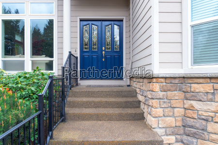 house front entrance navy blue door