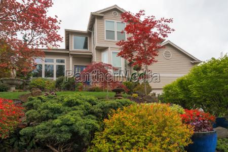 lush garden landscaping in front yard