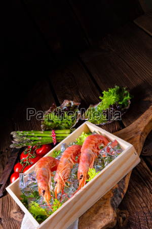 cooked argentine red prawns with salad