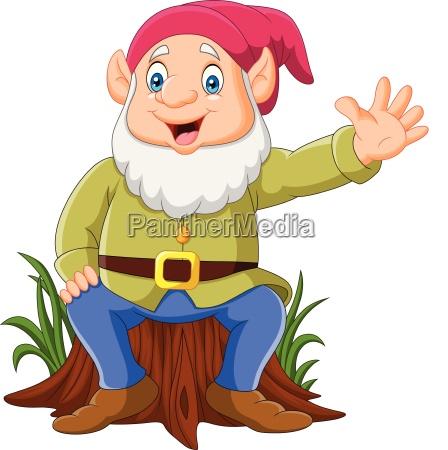 cartoon happy dwarf sitting on tree