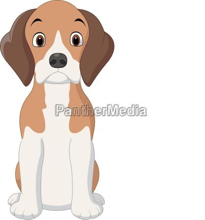 cartoon gluecklicher beagle hund sitzt